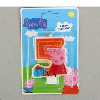 """Свеча цифра """"5"""" Peppa Pig"""