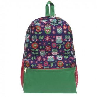 """Рюкзак молодёжный на молнии """"Совы"""", 1 отдел, 2 наружных и 2 боковых кармана, зелёный (под заказ)"""