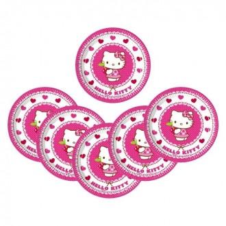 "Тарелки ""Хэллоу-Китти"" 20 см (набор 8 шт) / Hello Kitty Hearts (под заказ)"
