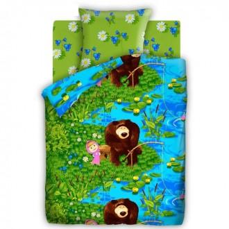"Постельное бельё ""Маша и медведь"" На рыбалке 1,5 сп., размер 143х215 см, 150х214 см, 70х70 см-1 шт."