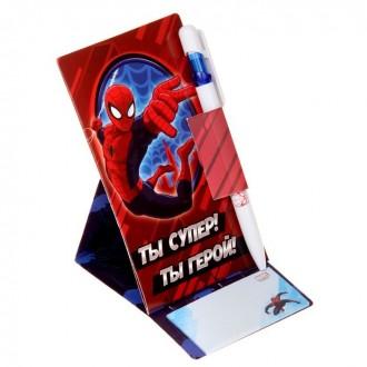 """Набор ручка на открытке с бумажным блоком """"Ты супер! Ты герой!"""", Человек Паук"""