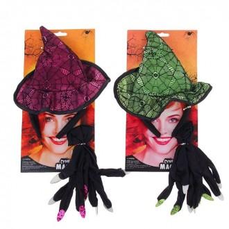 """Карнавальный набор """"Ведьма"""", 2 предмета: ободок, перчатки (под заказ)"""