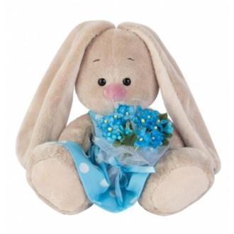 Зайка Ми в голубом платье с букетом незабудок (15 см)