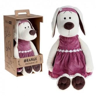 """Мягкая игрушка """"Собачка Лапуська в бархатном платье"""" 45 см (под заказ)"""