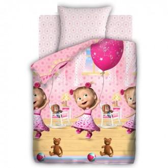 """Постельное бельё """"Маша и Медведь"""" День рождения 1,5 сп., размер 143х215 см, 150х214 см, 70х70 см - 1 шт (под заказ)"""