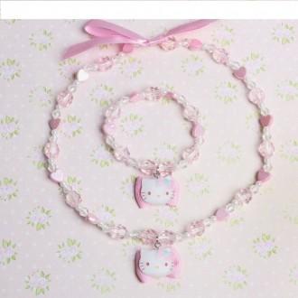 """Набор 2 предмета: бусы, браслет """"Китти"""", цвет розовый (под заказ)"""