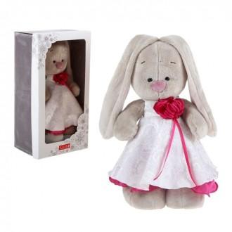 """""""Зайка Ми"""" в белом платье с розой, 32 см"""