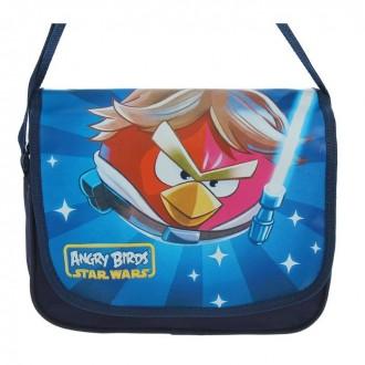 Сумка детская на молнии Angry Birds, 1 отдел, синяя 24 см × 8 см × 18 см