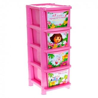 """Комод для игрушек """"Даша Путешественница"""", 4 выдвижных ящика 33 × 40 × 85 см (под заказ)"""