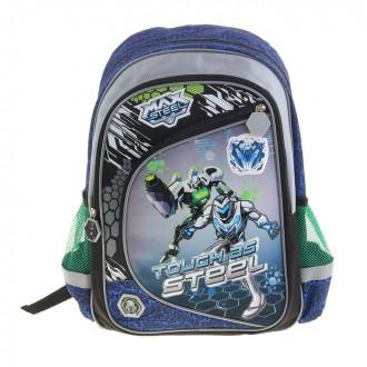 Рюкзак Max Steel уплотнённая спинка, серо-синий (под заказ)