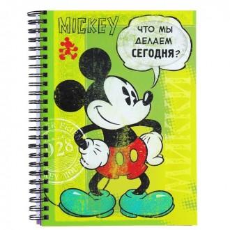 """Ежедневник на гребне А5 """"Что мы делаем сегодня?"""", Микки Маус, 80 листов (под заказ)"""