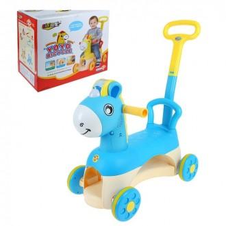 """Толокар """"Лошадь"""" с развивающими элементами, цвет голубой (под заказ)"""