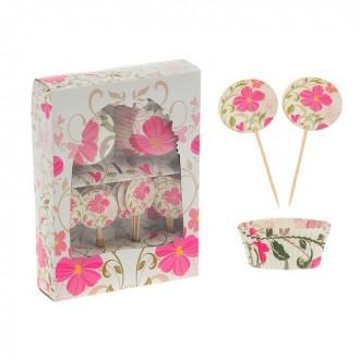 """Украшение для кексов """"Цветы"""" в наборе: 24 пики, 24 формочки (под заказ)"""