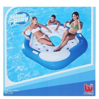 Шезлонг надувной для отдыха на воде для троих, 191х178 см (под заказ)