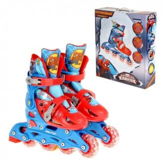 """Роликовые коньки """"Человек Паук"""", раздвижные, колеса PVC 64х24 мм, пластиковая рама, р. 29-32; 33-36 (под заказ)"""