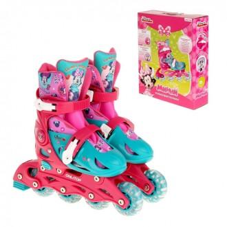"""Роликовые коньки """"Минни Маус"""", раздвижные, колеса PVC 64х24 мм, пластиковая рама, р. 29-32; 33-36 (под заказ)"""