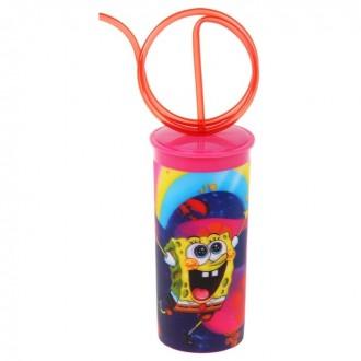 """Бокал 330 мл """"Губка Боб"""" , с крышкой и витой трубочкой, цвет розовый 3D (под заказ)"""