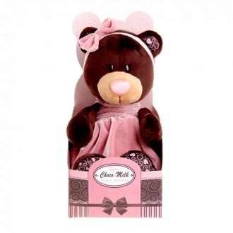 """Мягкая игрушка """"Milk сидячая в розовом бархатном платье"""" 25см (под заказ)"""