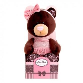 """Мягкая игрушка """"Milk сидячая в розовом бархатном платье"""" 30см (под заказ)"""