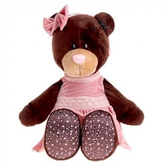 """Мягкая игрушка """"Milk сидячая в розовом бархатном платье"""" 50см (под заказ)"""