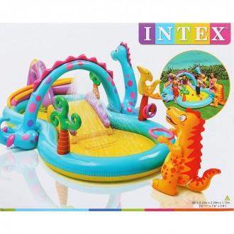 Игровой центр Дракоша с горкой и надувными игрушками 333х229х112 см, от 3 лет (под заказ)