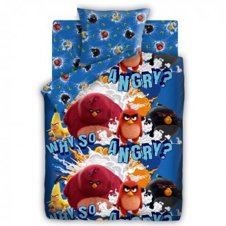 """Постельное бельё Angry Birds """"Злые Птички"""" 1,5 сп., размер 143*215 см, 150*214 см, 70*70 см-1шт (под заказ)"""