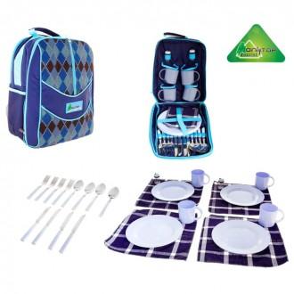 Рюкзак-холодильник с набором для пикника PREMIUM, на 4 персоны (под заказ)