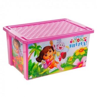 """Ящик для игрушек на колесах """"Даша Путешественница"""" 57 л, с крышкой 62 × 40 × 33 см (под заказ)"""