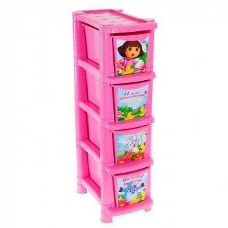 """Комод для игрушек """"Даша Путешественница"""", 4 выдвижных ящика 41 × 24,5 × 86,7 см (под заказ)"""
