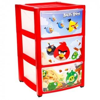 Комод для игрушек Angry Birds на колёсиках, 3 выдвижных ящика, цвет красный (под заказ)