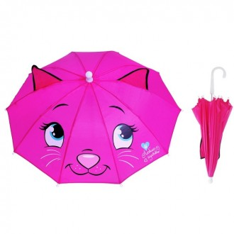 """Зонт детский """"Кошка-кокетка"""" с ушками d=48 см, цвет розовый"""