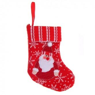 """Носок для подарка """"Дед Мороз"""" (снегопад) 12 × 17 см"""