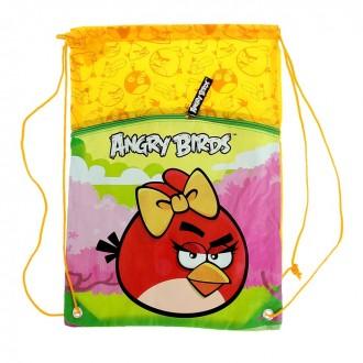 Мешок для обуви Angry birds желтый 43*37см (под заказ)