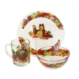 """Набор детской посуды """"Маша и Медведь. Фруктовая корзина"""", 3 предмета: кружка 250 мл, тарелка 195 мм, салатник 125 мм"""