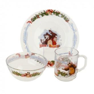 """Набор детской посуды """"Маша и Медведь. Зима"""", 3 предмета: кружка 250 мл, тарелка 195 мм, салатник 125 мм"""