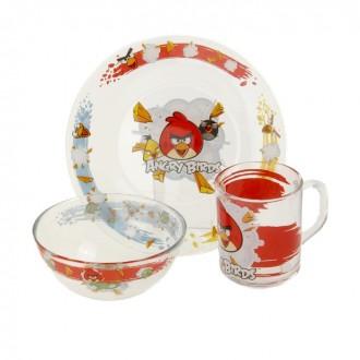 "Набор детской посуды ""Angry Birds. Классик"", 3 предмета: кружка 250 мл, тарелка 195 мм, салатник 125 мм"