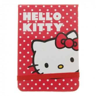 Блокнот твердая обложка А7, 80 листов Hello Kitty, на резинке