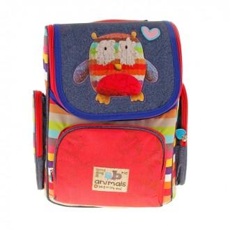 Рюкзак школьный Fabric Animals с 3-мя карманами, уплотненным корпусом, жесткой спинкой 35x27x16см