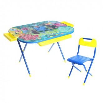 """Набор детской мебели """"Дошкольник. Маугли"""" складной: стол, стул и пеналы, цвет синий"""