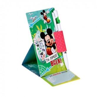 """Ручка пластиковая на открытке с бумажным блоком """"Ты лучше всех!"""", Микки Маус"""
