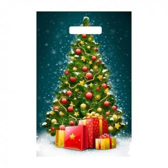 """Пакет """"Елочка с подарками"""", полиэтиленовый с вырубной ручкой, 30х20 см"""