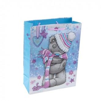 "Пакет подарочный ""Тедди - снежок"", 26 х 36 х 11.5 см, Me to you"