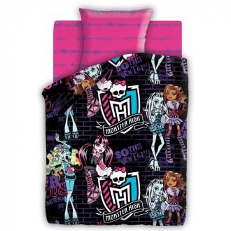 КПБ 1,5сп Monster High Школьные граффити 143*215 см, 150*214, 70*70,1шт,поплин (под заказ)