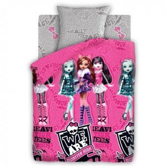 КПБ 1,5сп Monster High Куклы 143*215 см, 150*214 см, 70*70 см 1шт,поплин (под заказ)