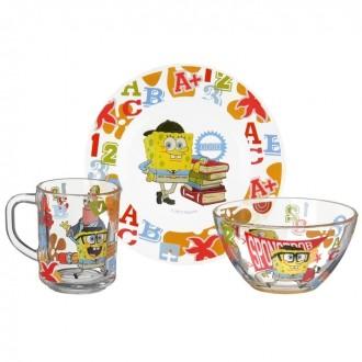 """Набор детской посуды """"Губка Боб. Школа"""", 3 предмета: кружка 250 мл, салатник 13 см, тарелка 19,5 см (под заказ)"""
