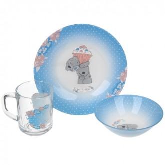 """Набор детской стеклянной посуды """"Me to You. Пирожное"""", 3 предмета: тарелка 19,5 см, салатник 14 см, кружка 250 мл"""