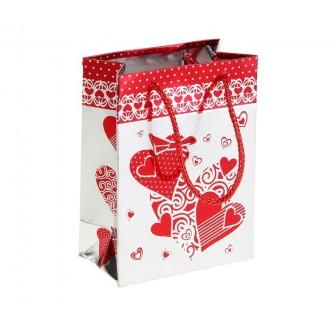 """Пакет голографический """"Сердца"""", цвет красный 11*15 см"""