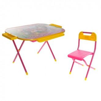 """Набор детской мебели """"Дошкольник. Чипполино"""" складной: стол, стул и пенал, цвет розовый"""
