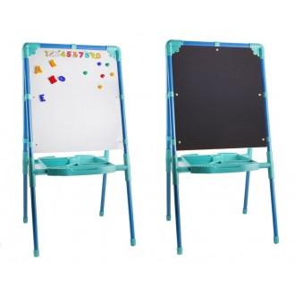 Мольберт двухсторонний с большим пеналом, магнитными буквами, цифрами и мозаикой, цвет голубой