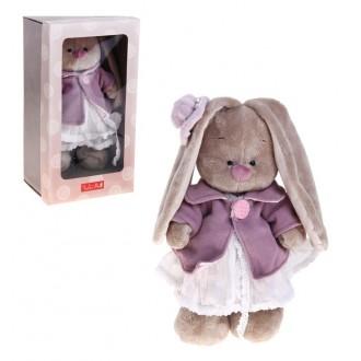 """Мягкая игрушка """" Зайка Ми"""" в фиолетовом пальто и белом платье (25 см)"""